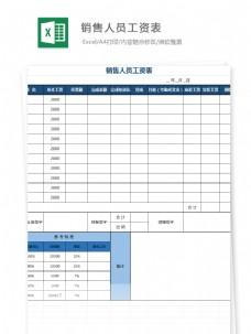销量人员工资表Excel文档