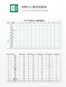 销量中心费用预算表Excel模板