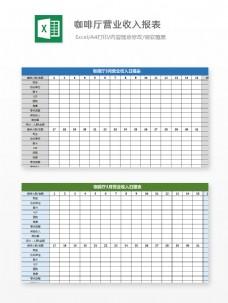 咖啡厅营业收入报表Excel图表