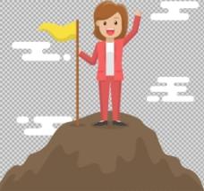 站在山顶的商务女士免抠png透明图层素材
