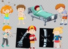 生病的学生小孩免抠png透明图层素材
