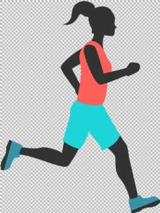 黑人跑步女人免抠png透明图层素材