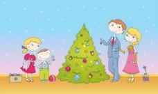 过圣诞节的一家人