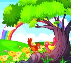 野外风景小鸟彩虹矢量图片