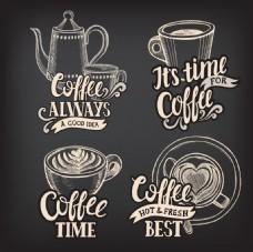 手绘拉花咖啡插画