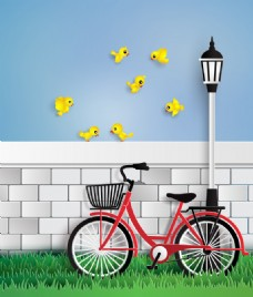 停在墙边的单车矢量