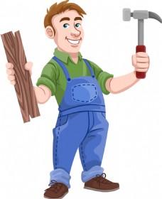 卡通木工人物素材设计
