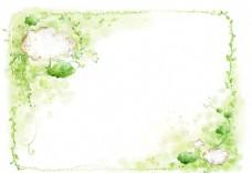 云朵梦幻绿色边框背景素材