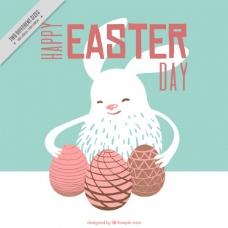 手绘复活节彩蛋可爱兔子的背景