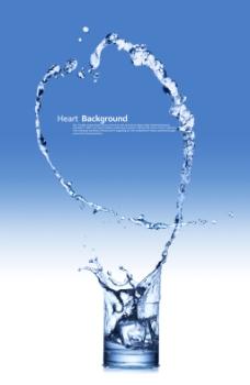 创意水形状蓝色背景psd素材