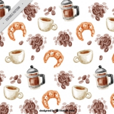 咖啡豆和羊角水彩画图案