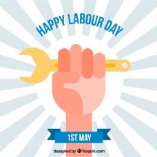 旭日的背景与劳动节的手工具