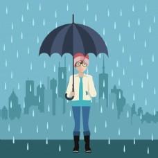 女孩用雨伞