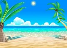 海滩卡通插画