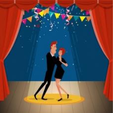 舞会派对男女跳舞背景图