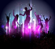 紫色梦幻派对人们剪影