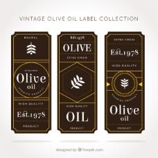 棕色和黄色橄榄油标签的复古风格