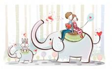 卡通大象情侣背景图