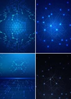 4款科技线条背景矢量图