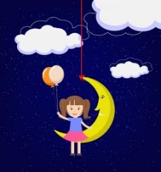 儿童月亮矢量背景