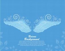 黄色翅膀线条元素