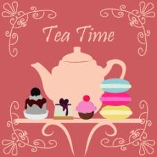 欧式花边彩色糕点茶壶下午茶矢量