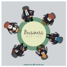 圆桌会议背景和商务会议