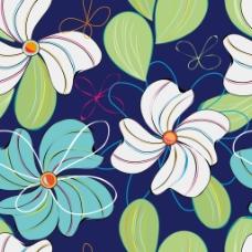 花卉元素无缝底纹背景矢量