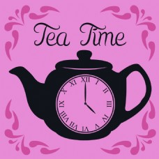 下午茶时间茶壶矢量海报背景