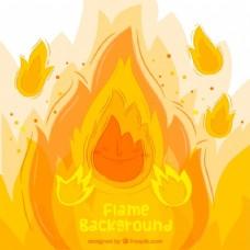 手绘火焰背景