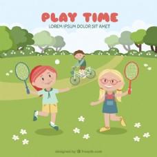 女孩在野外打网球的背景