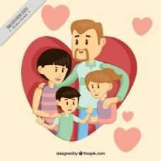 有孩子和心灵的漂亮家庭背景