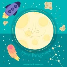 火箭和陨石微笑月球的背景