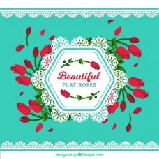 平面背景,红玫瑰装饰装饰
