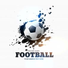 足球背景与墨迹