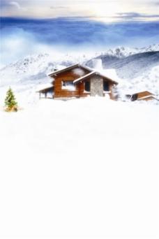 雪山房屋H5背景