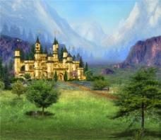 山河城堡画意H5背景图