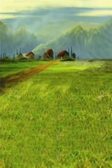 绿色草原风景H5背景
