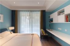 天蓝色墙纸卧室装饰效果图
