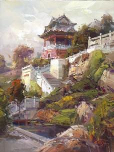 高清建筑风景油画装饰画