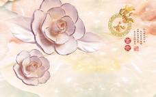 牡丹花玉雕背景墙设计