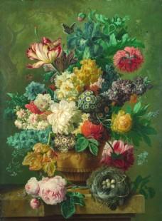 油画花瓶静物装饰画背景墙