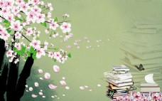 清新唯美桃花书本中式背景墙