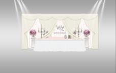 布幔花艺帷幔婚礼签到展示区效果图