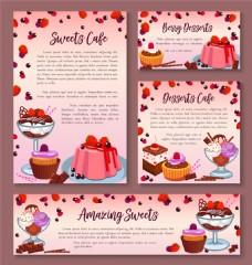 卡通甜品宣传单海报图片