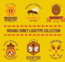 6款精美有机蜂蜜标志矢量素材