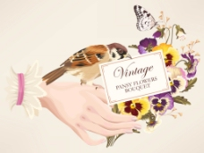 新娘的手卡片婚庆请柬高清片海报矢量素材