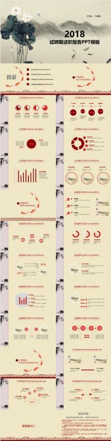 中国风水墨2018年试聘期述职报告PPT模板