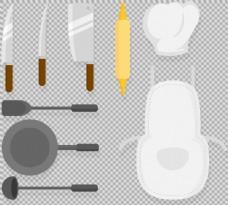 各种扁平风格厨房用品免抠png透明素材