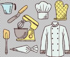 手绘线描风格厨具免抠png透明图层素材